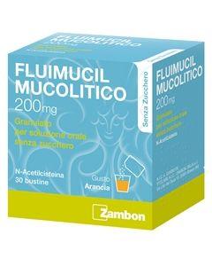 Zambon Fluimucil Mucolitico 200mg Granulato Soluzione Orale Senza Zucchero Trattamento Affezioni Respiratorie 30 Bustine